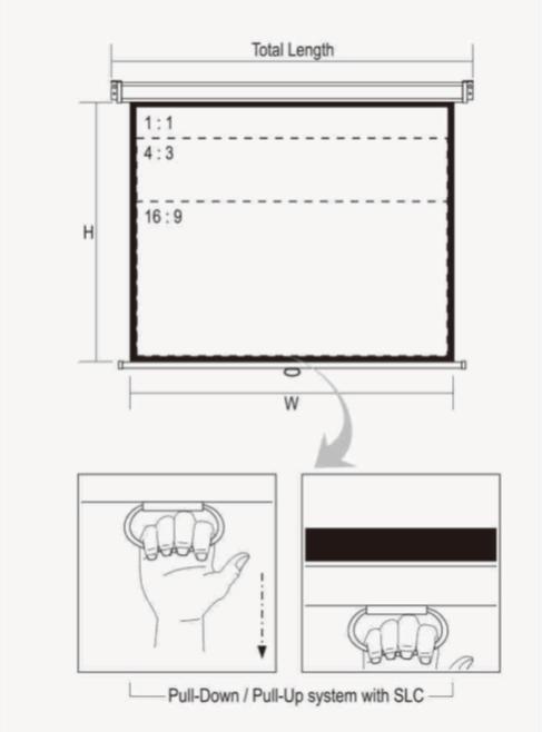 """Jual Layar D-Light Manual Pull Down Wall Screen 1515L (60"""") Murah"""