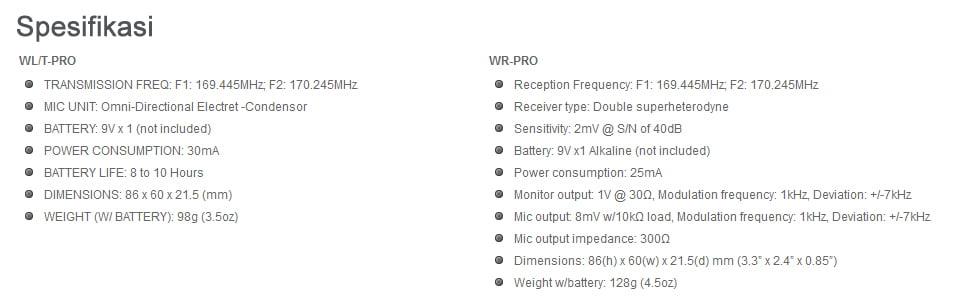 spesifikasi-azden-wlx-pro
